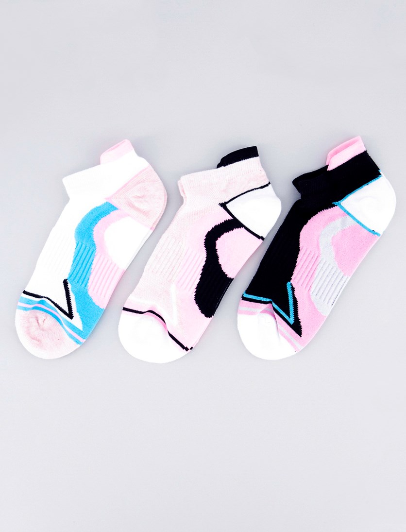 Women's 3 Pairs Ankle Socks, White/Pink/Blue/Black
