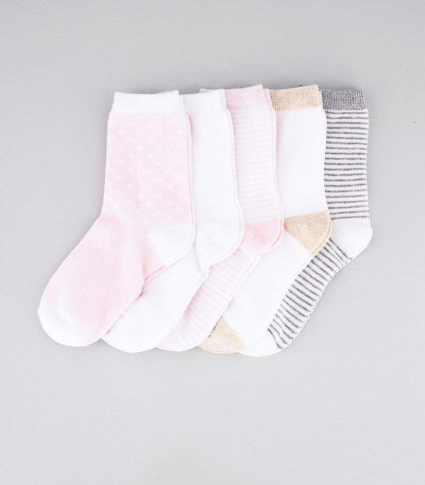 Girl's 5 Pairs Stripes Socks, Gray/Pink/White