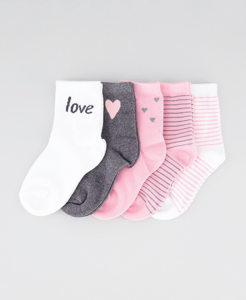 Girl's 5 Pairs Heart Print And Stripes Socks, Pink/White/Grey