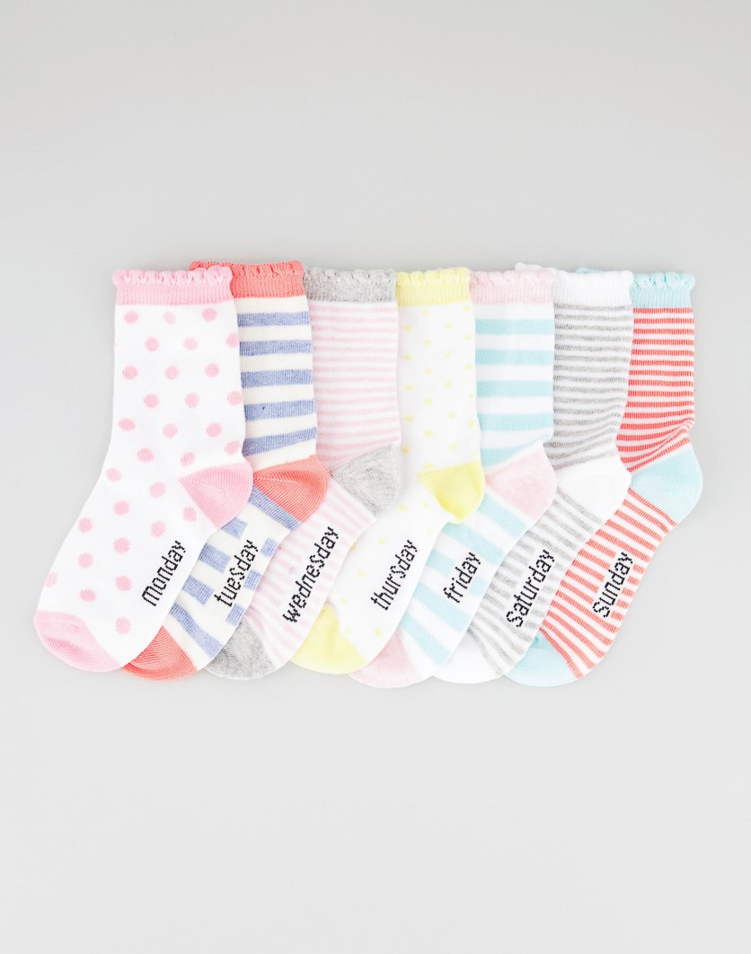 Girl's 7 Pack Ankle Socks, Pink/Yellow/White Combo
