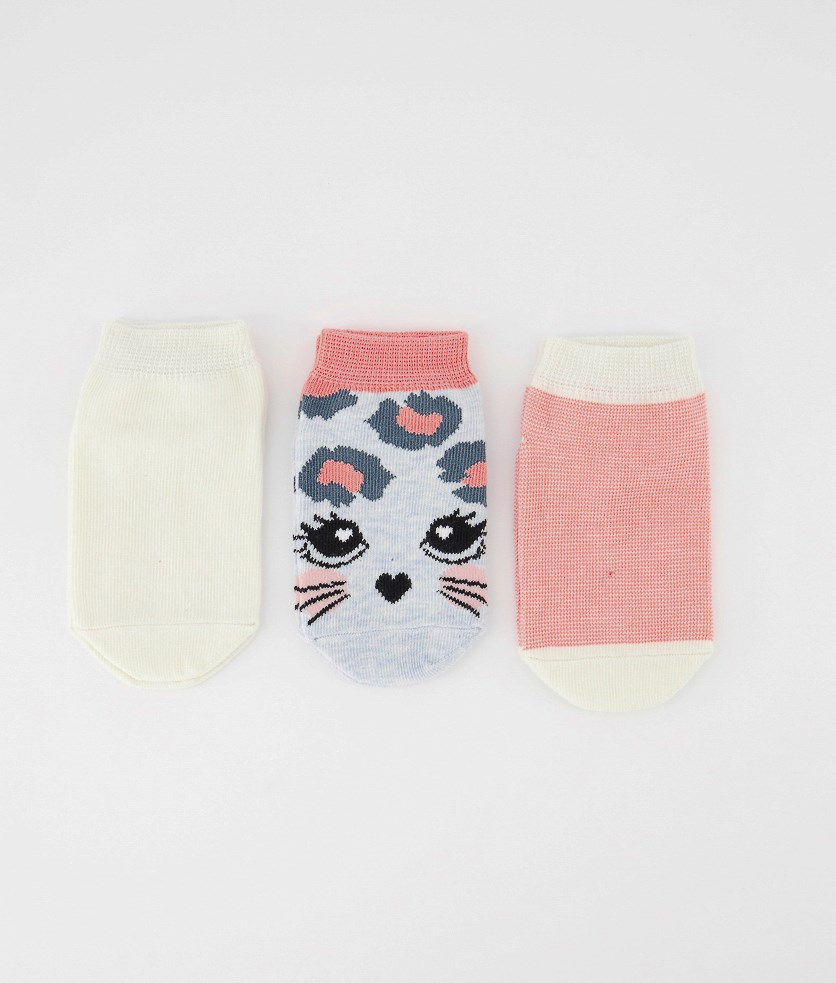 Toddlers Girl's 3 Pairs Colored Ankle Socks, Beige/Pink Combo