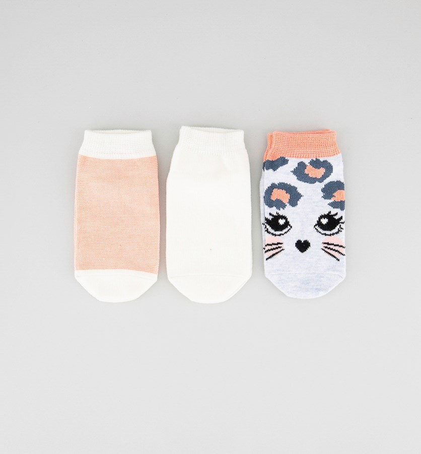 Kids Girls 3 Pairs Ankle Socks, Pink/Blue/Off White