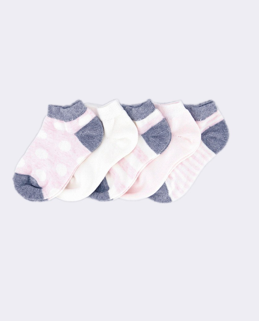 Toddler's Girls Stripes 5 Pairs Ankle Socks, Pink/Gray/Beige