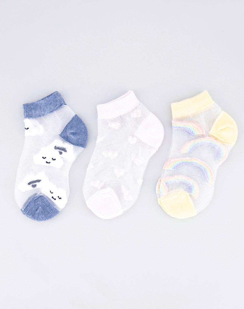 Girls 3 Pairs Textured Socks, Blue/Yelow/Pink