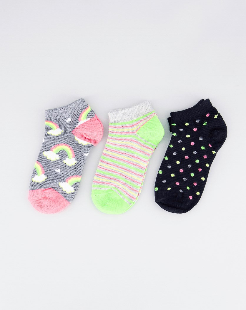 Girl's Polka And Stripes 3 Pairs Socks, Gray/Black/Lime