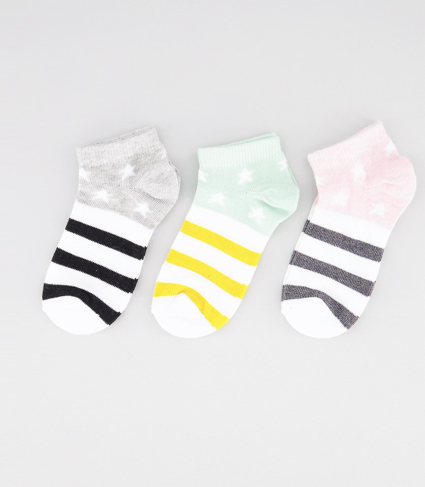 Girl's Stripes 3 Pairs Ankle Socks, Pink/Mint Green/Gray