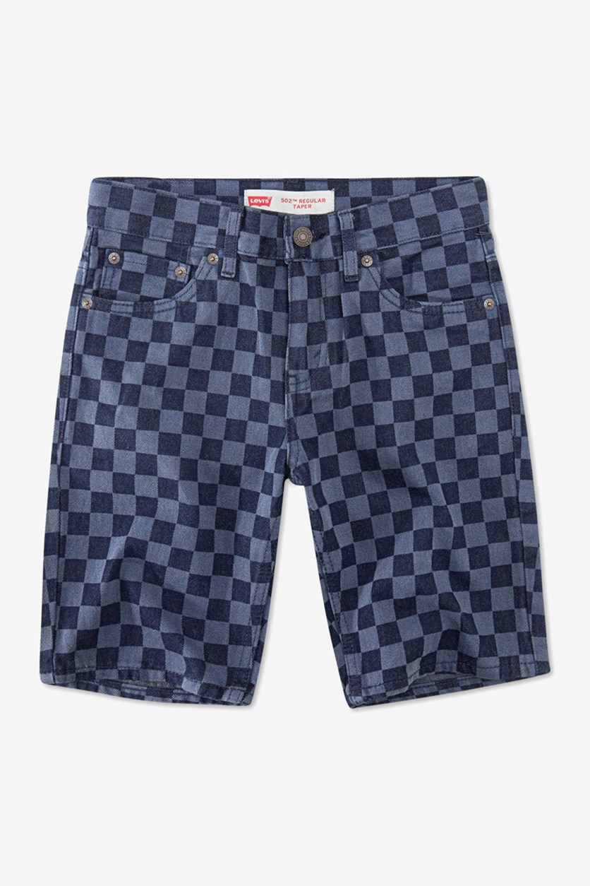Big Boys 502 Checkerboard-Print Taper-Fit Denim Shorts, Blue