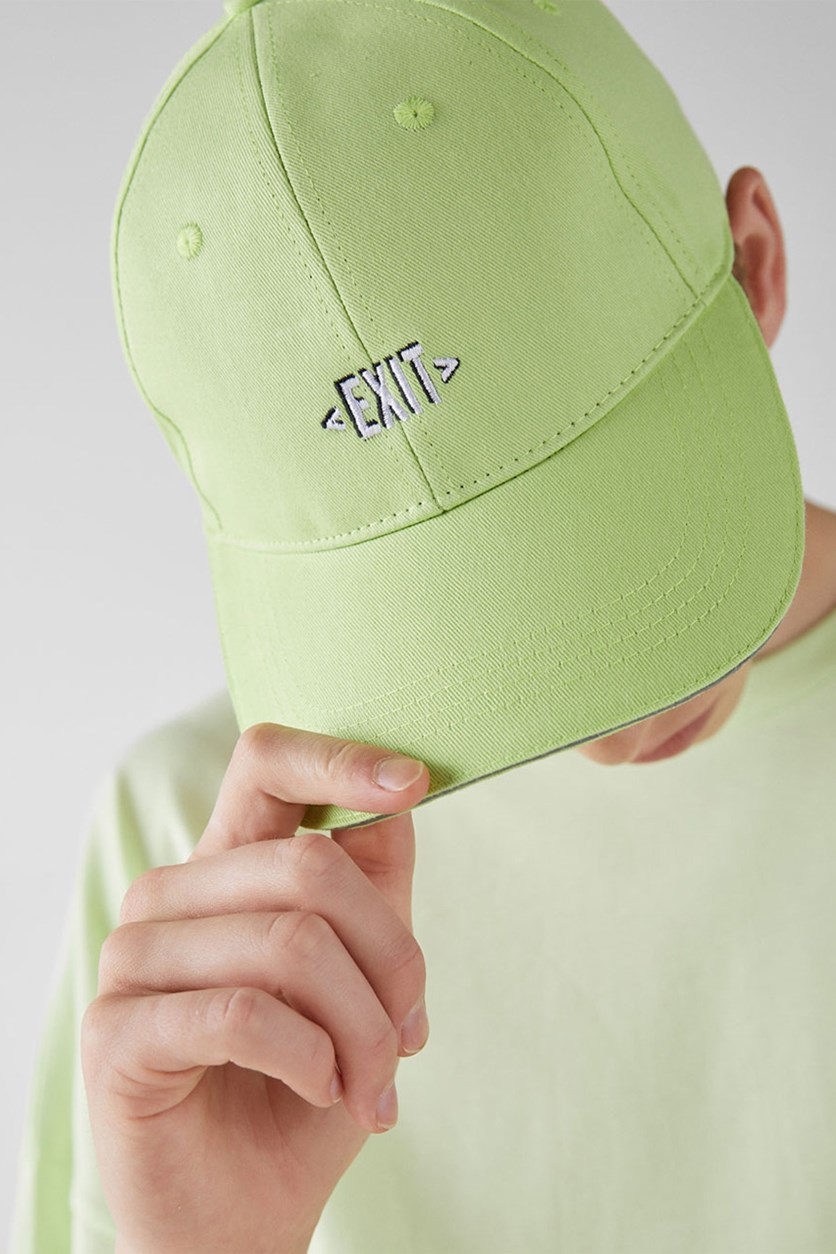 Men's Embroidered Cap, Lime Green