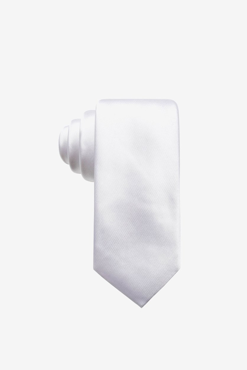 Men's Satin Solid Slim Silk Tie, White