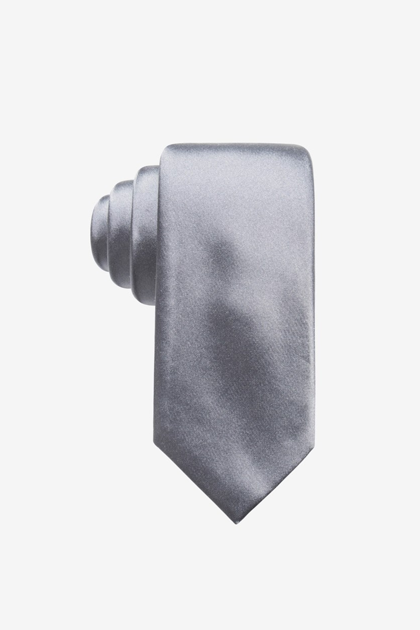 Men's Satin Solid Slim Silk Tie, Silver