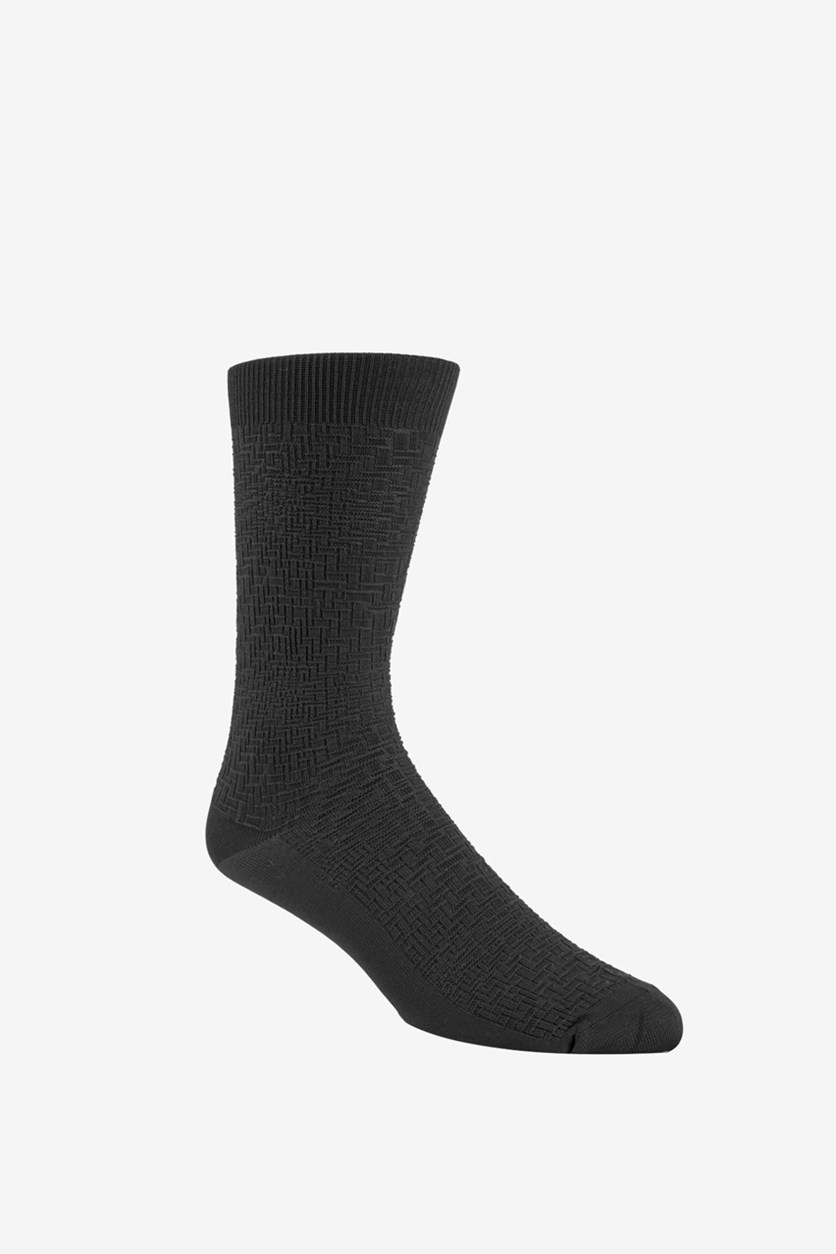 Men's Diagonal Stripe Socks, Black