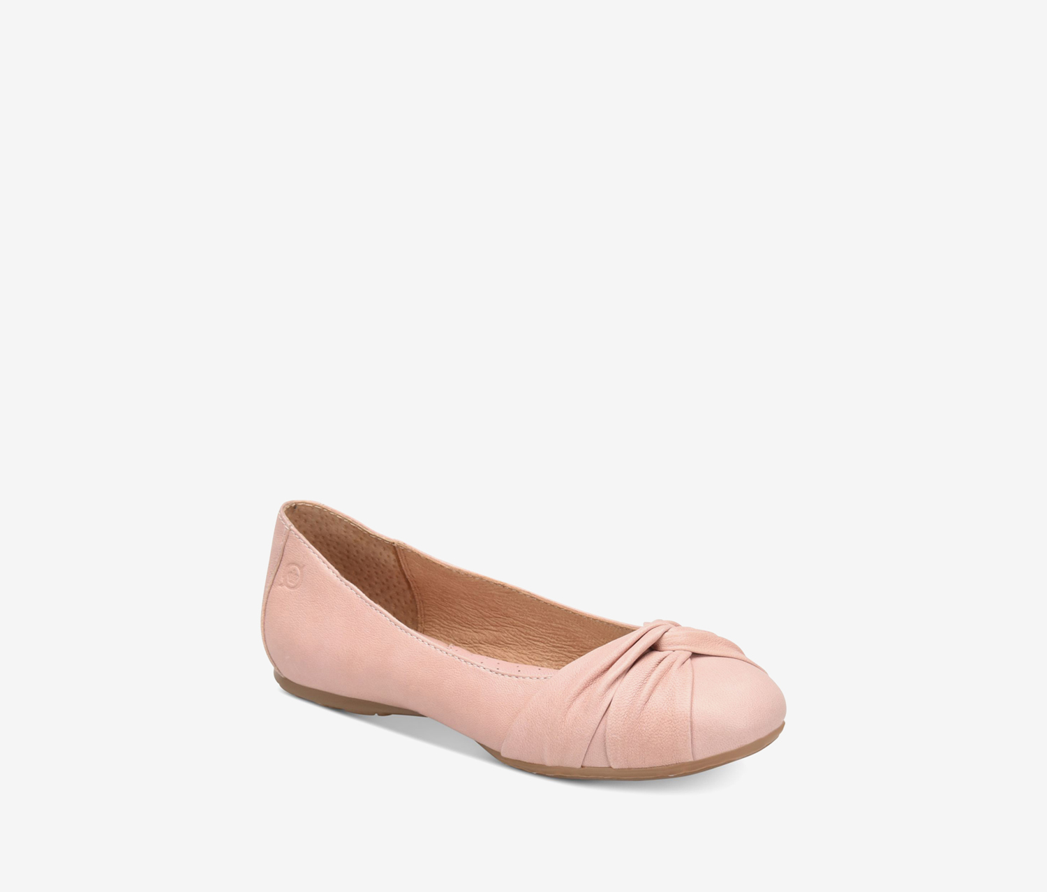 Womens Lilly Leather Round Toe Ballet Flats, Light Pink