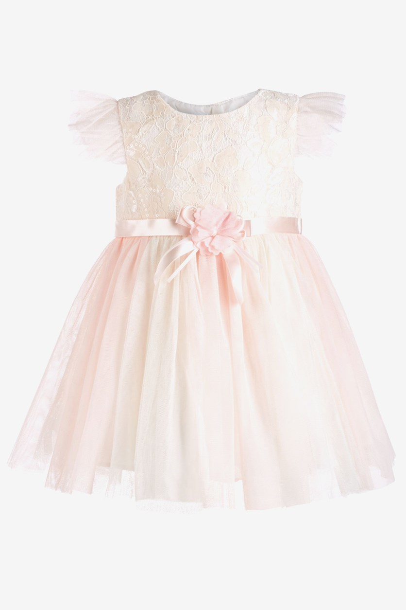 Baby Girls Lace Ballerina Dress, Peach/Light Pink
