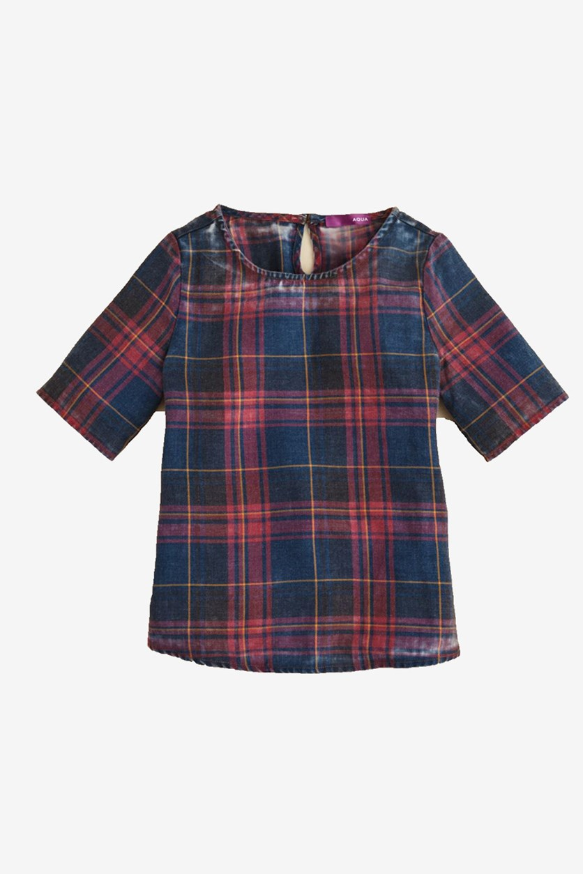 Girls' Plaid Shirt, Red/Maroon/Navy