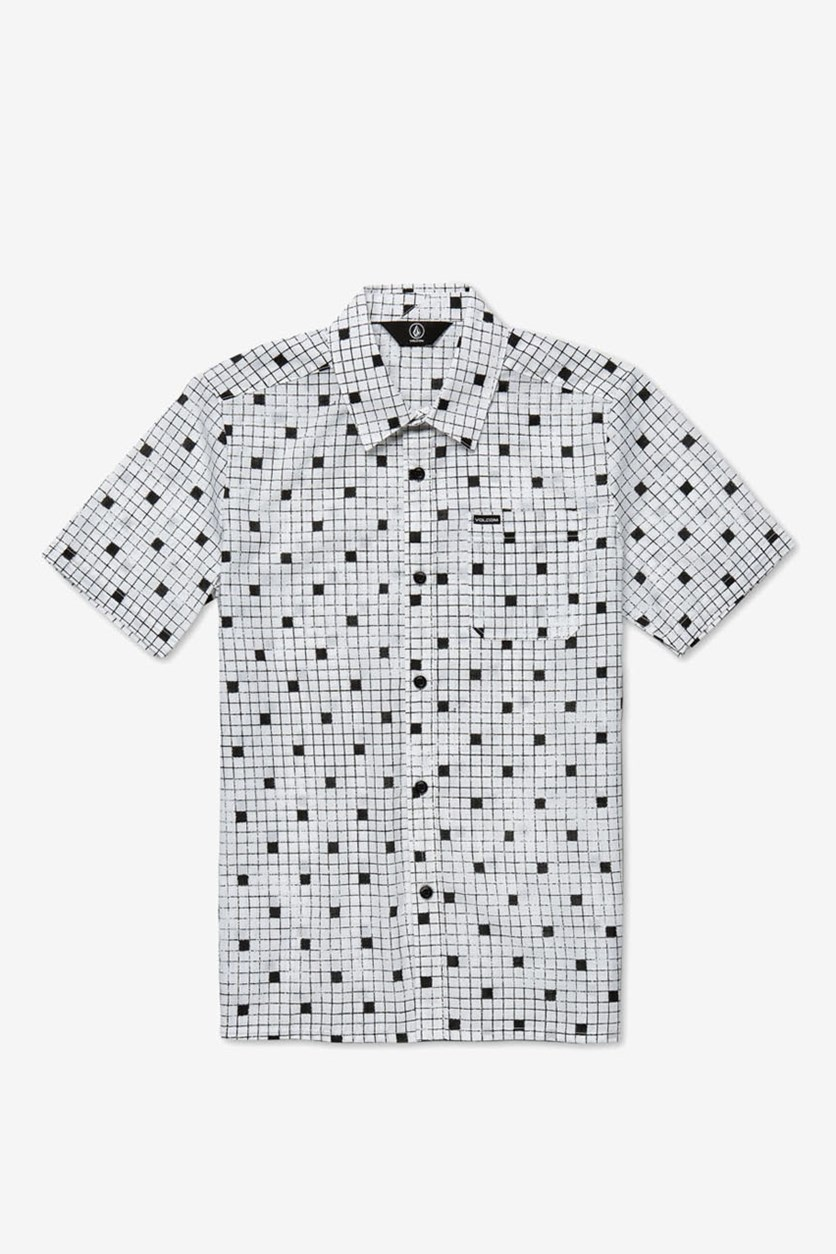 Boy's Crossed Up Classic-Fit Tile-Print Shirt, White/Black