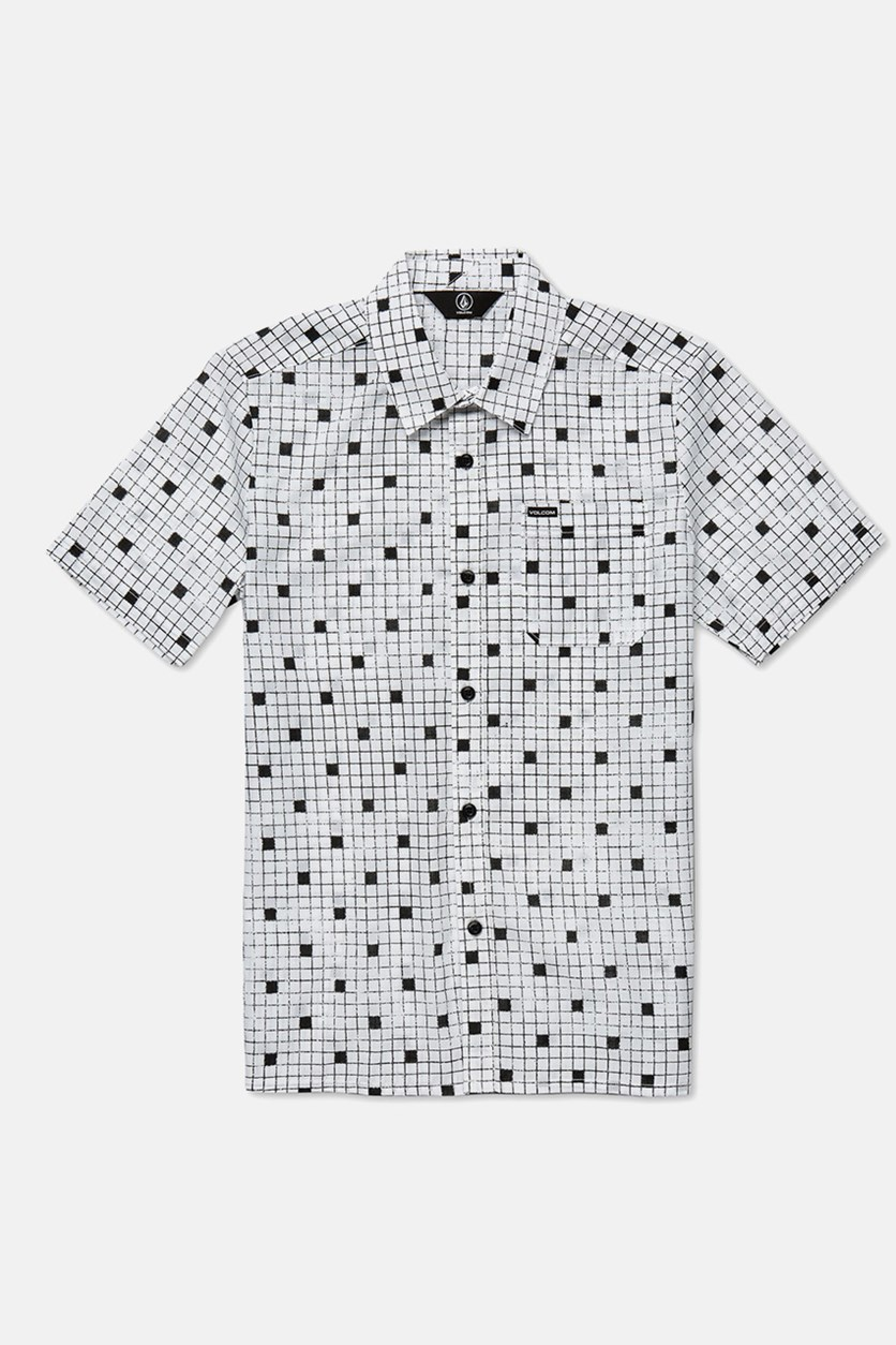 Kids Boys Crossed Up Print Shirt, White/Black