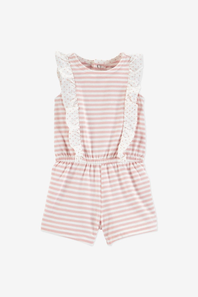 Baby Girls Striped Cotton Romper, Pink/White