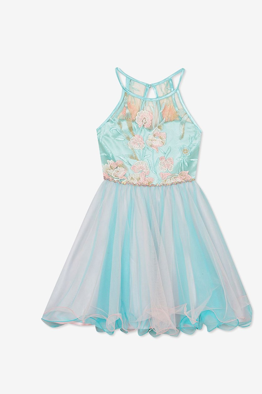 Big Girls Floral Embroidered Dress, Mint