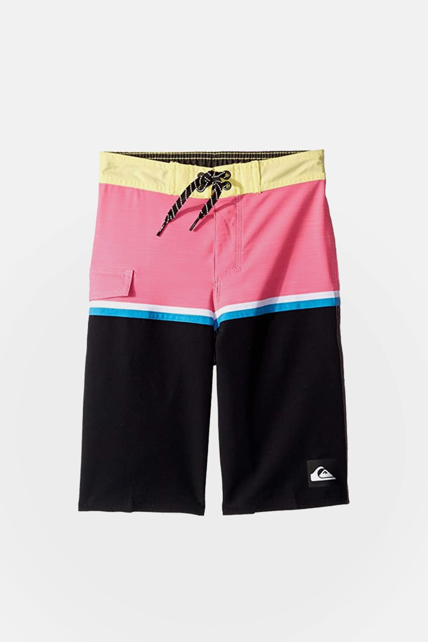Kids Boys Highline Division 14 Board Shorts, Yellow/Pink Combo