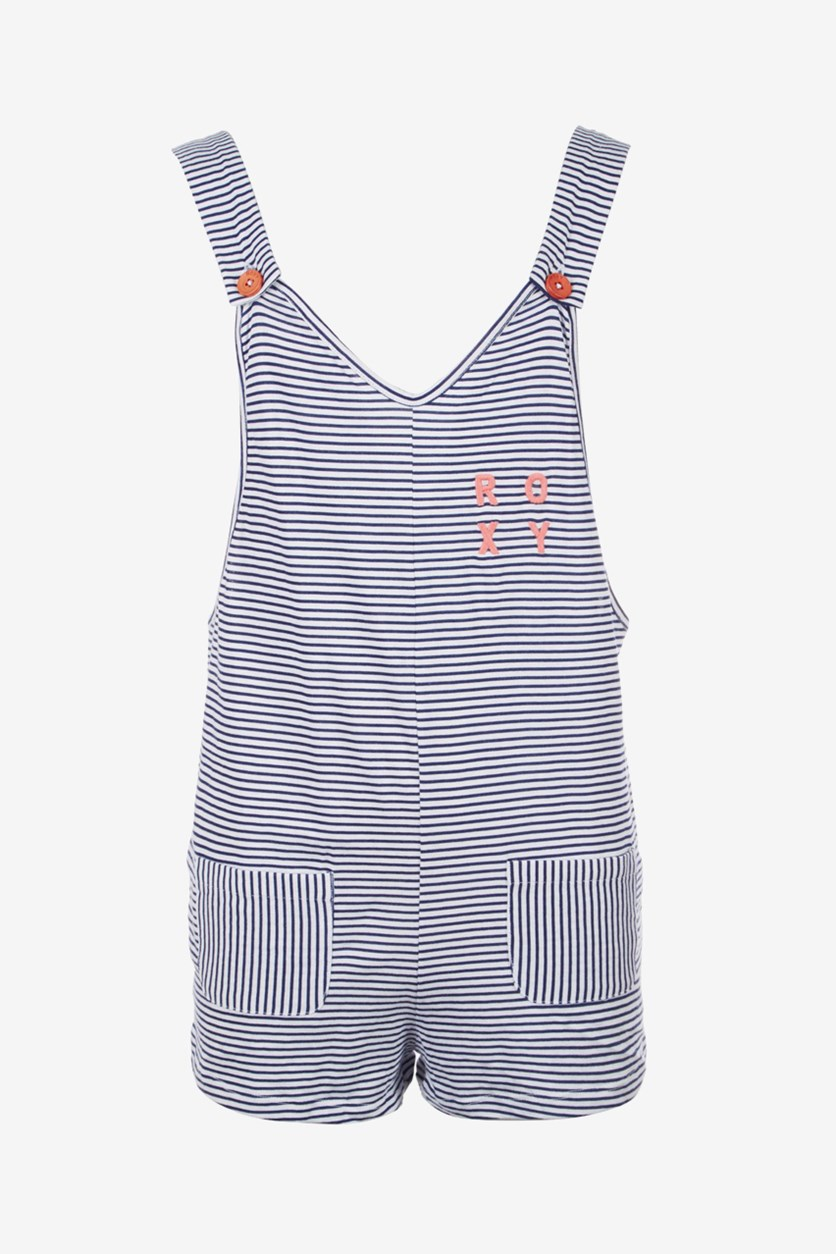 Big Girls Striped Cotton Romper, Medieval Blue/White