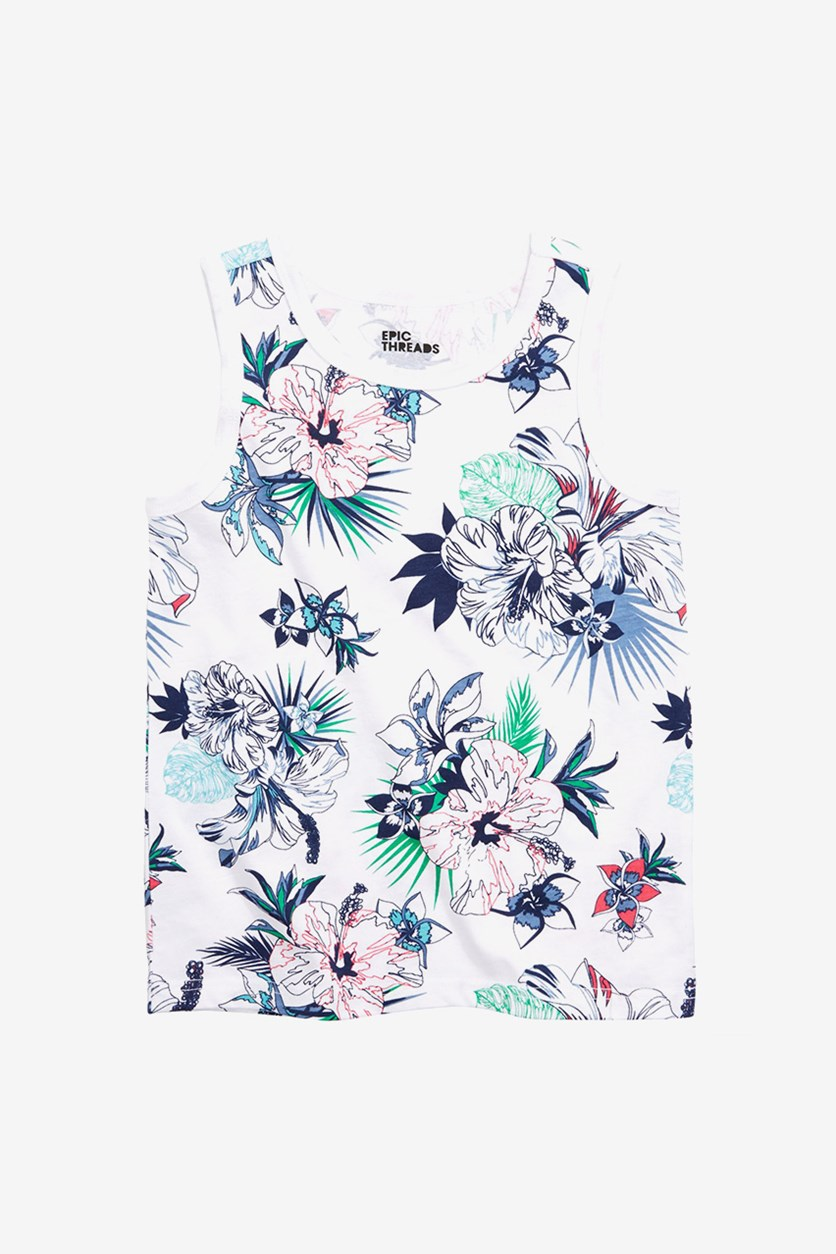 Toddler Boys Tropical Floral Tank, White Combo
