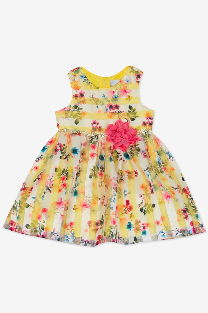 Baby Girls Striped Floral-Print Dress, Yellow Pink Combo