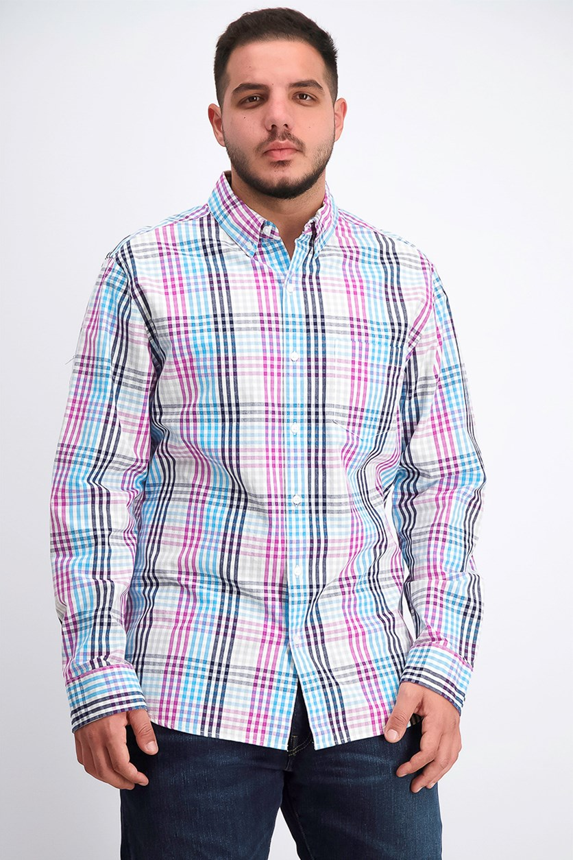 Men Longsleeve Plaid Shirt, Blue/Purple
