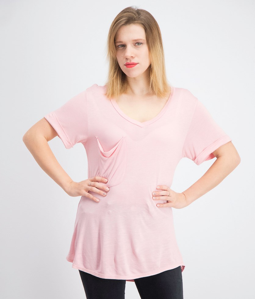 Women's V-Neck Short Sleeve Pocket Tee, Pink