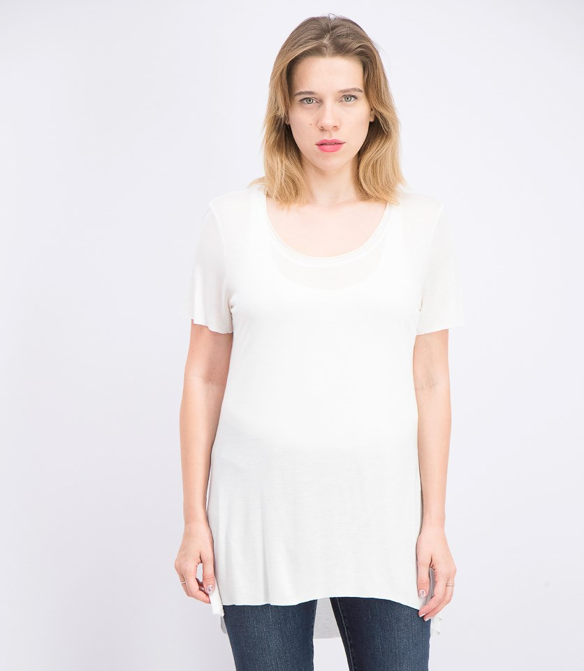 Women's Short-Sleeves Loose-Fit Tee, White