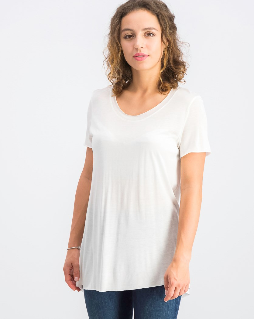 Women's Short Sleeve High-Low Hem Tops, White