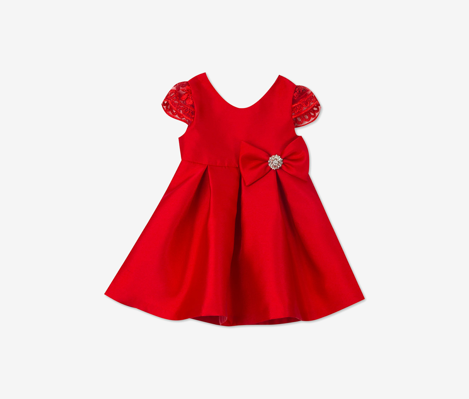 Toddler Girls Satin Fit & Flare Party Dress, Red