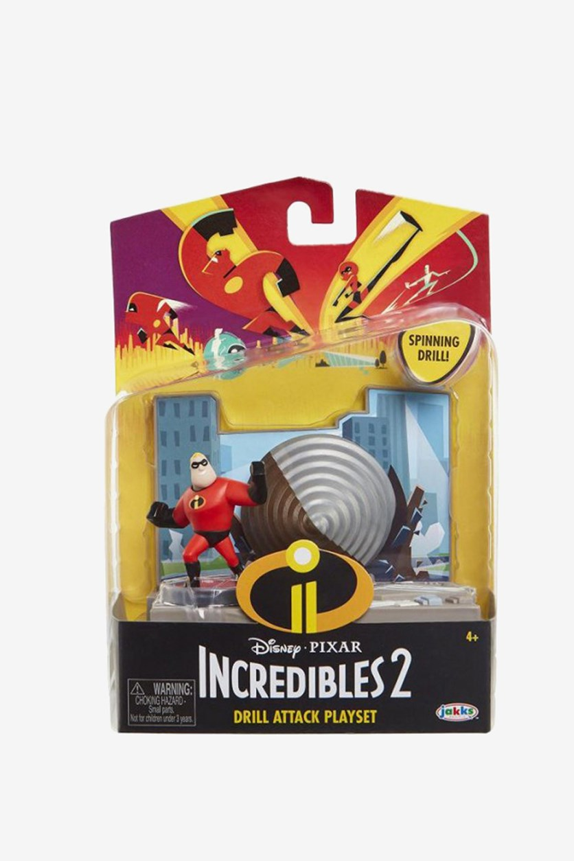 The Incredibles 2 - Mr Drill Attack Playset Action Pack, Grey/Red Combo
