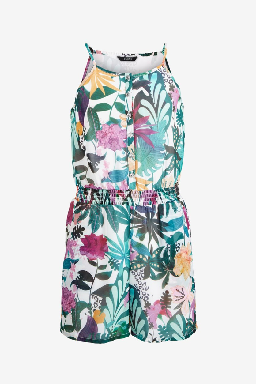 Big Girls Floral-Print Romper, Green Combo