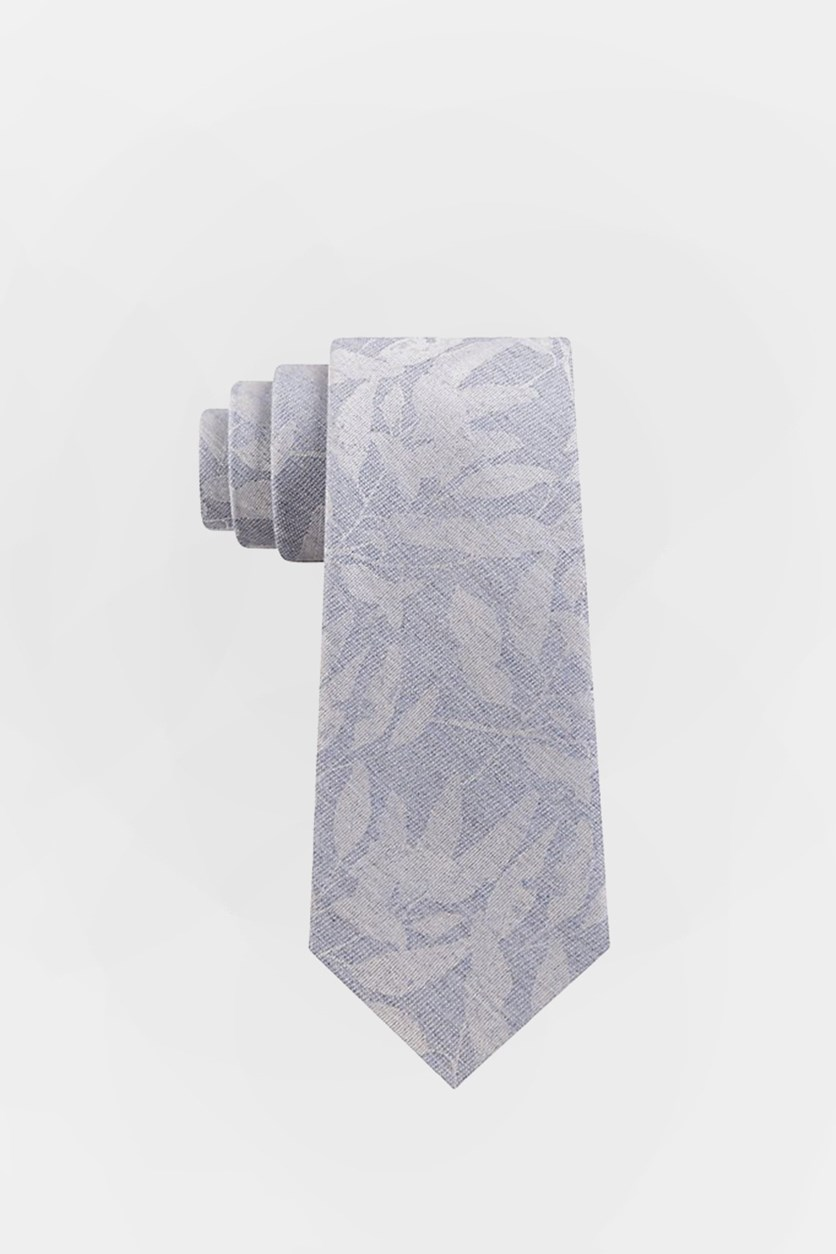 Men's Tropic Shodow Neck Tie, Gray/Chambray