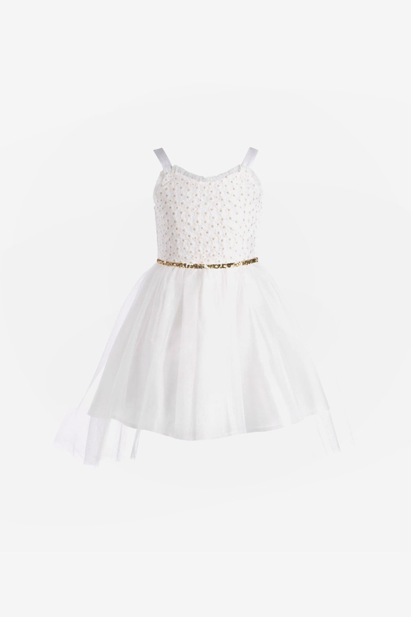 Little Girls Glitter Lace Dress, Ivory