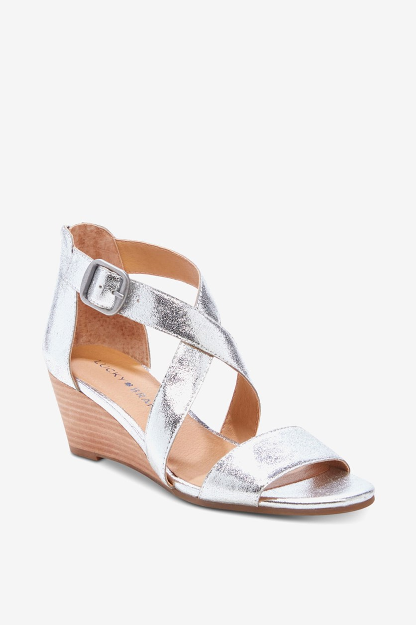 Women's Jenley Wedge Sandal, Silver Luther