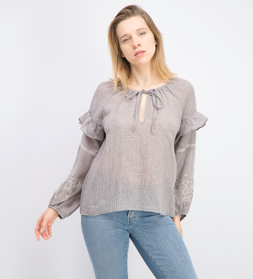 Women's Bishop Sleeves Textured Blouse, Grey