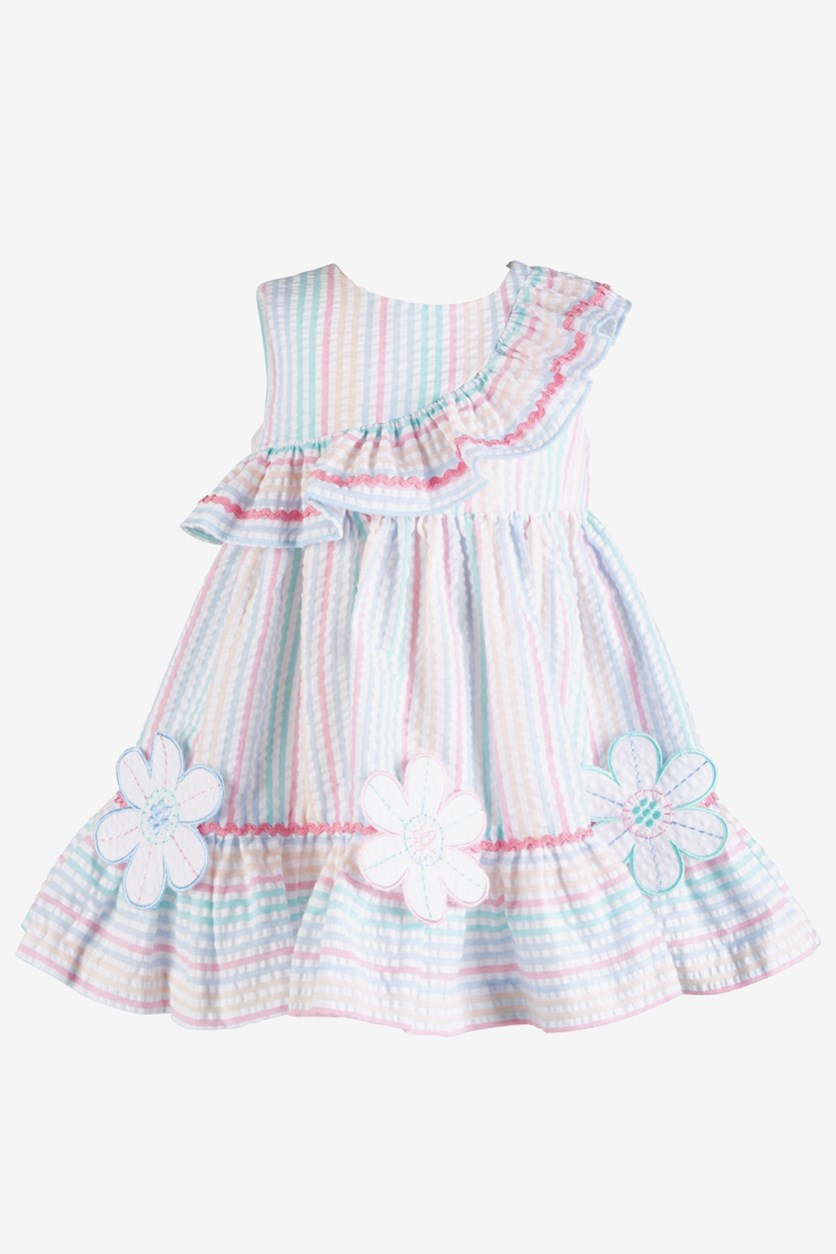 Baby Girls Rainbow Stripe Seersucker Dress, Pink/White Combo