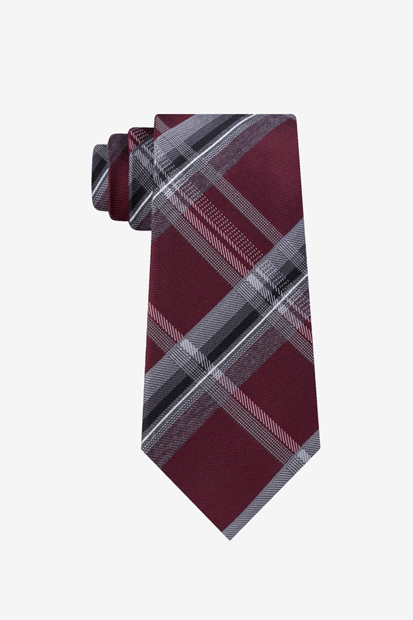 Men's Vermont Plaid Slim Tie, Red