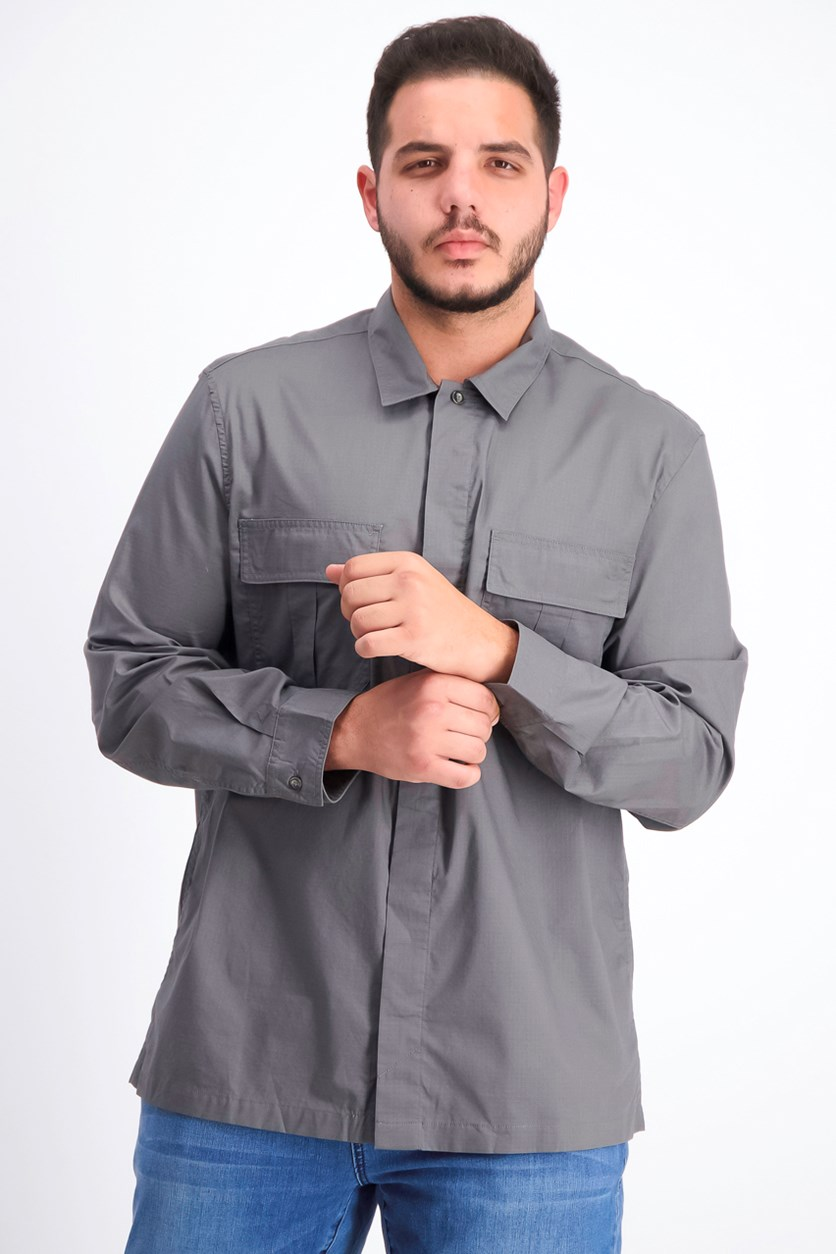 Men's Long Sleeve Button Down Shirt, Charcoal