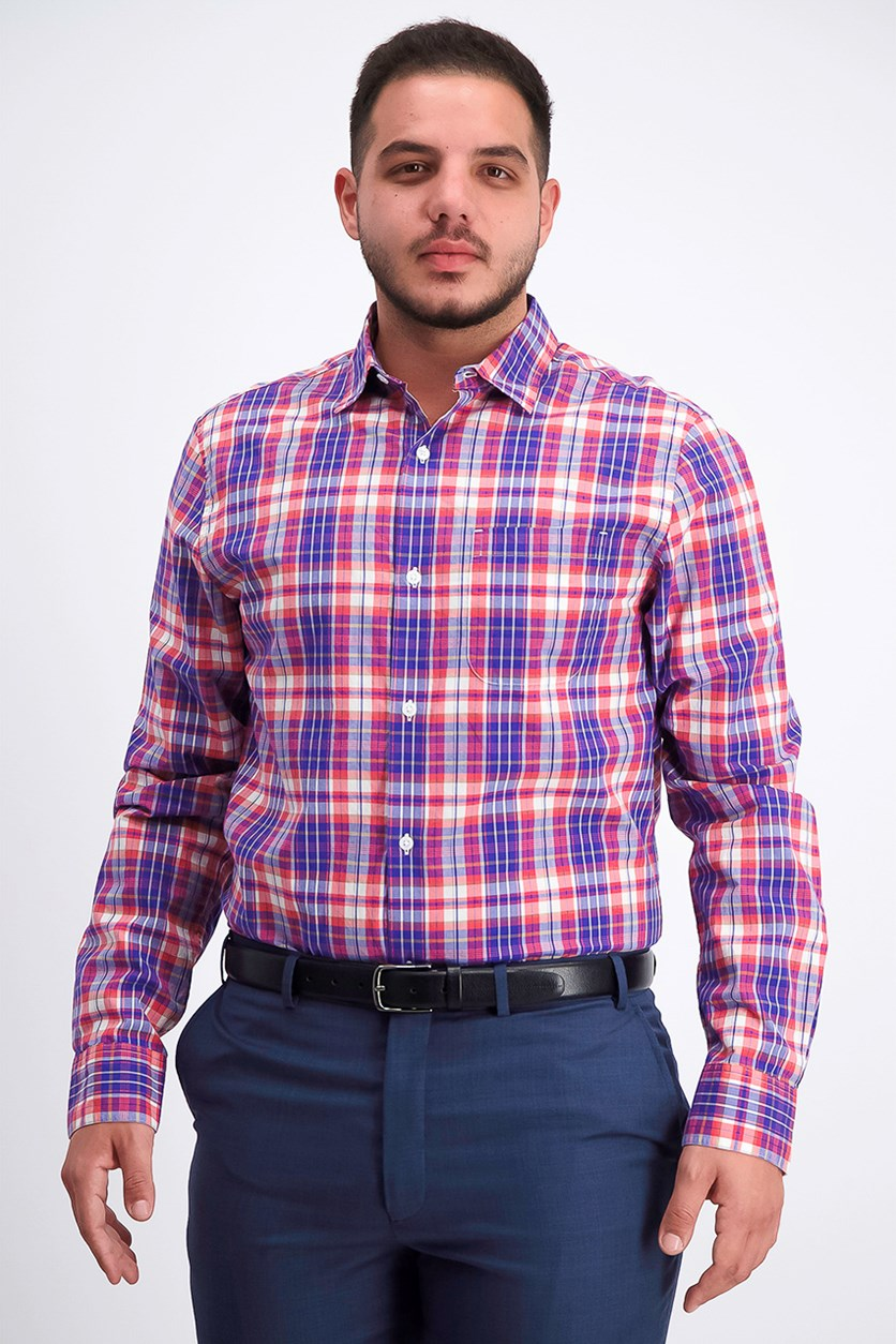 Men's Plaid Long sleeve Shirt, Purple/Blue