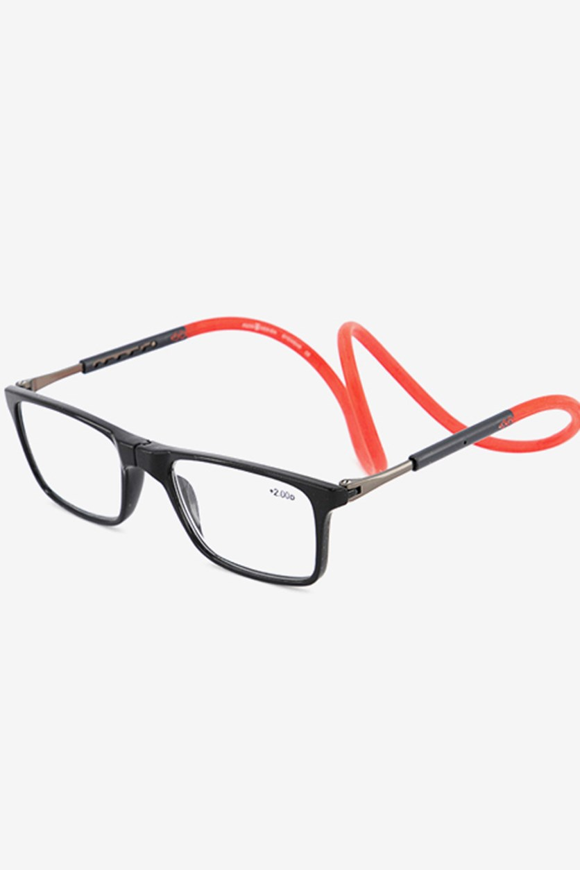 +1.00 D Unisex Reading Glasses, Black/Red