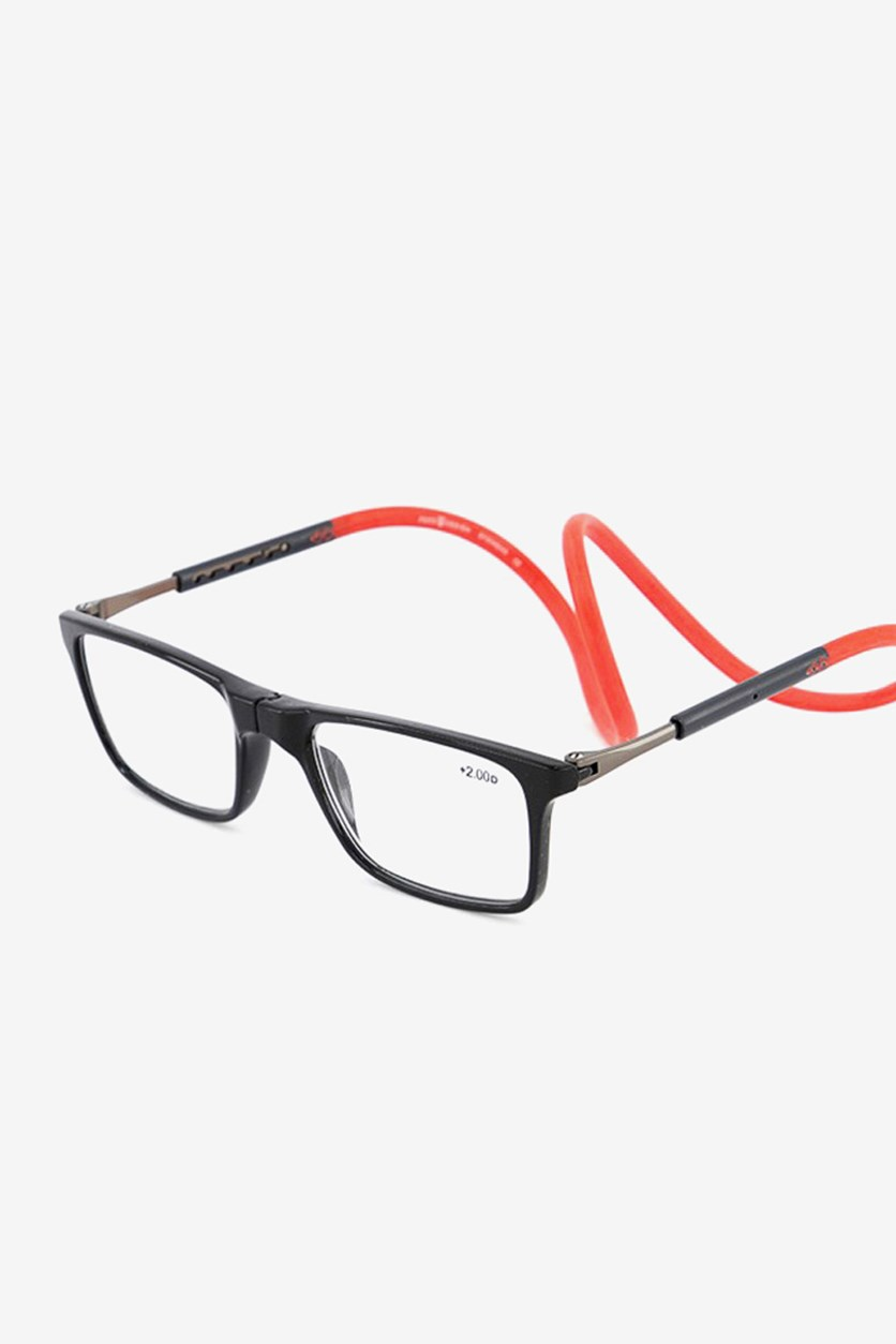 +2.25 D Unisex Reading Glasses, Black/Red