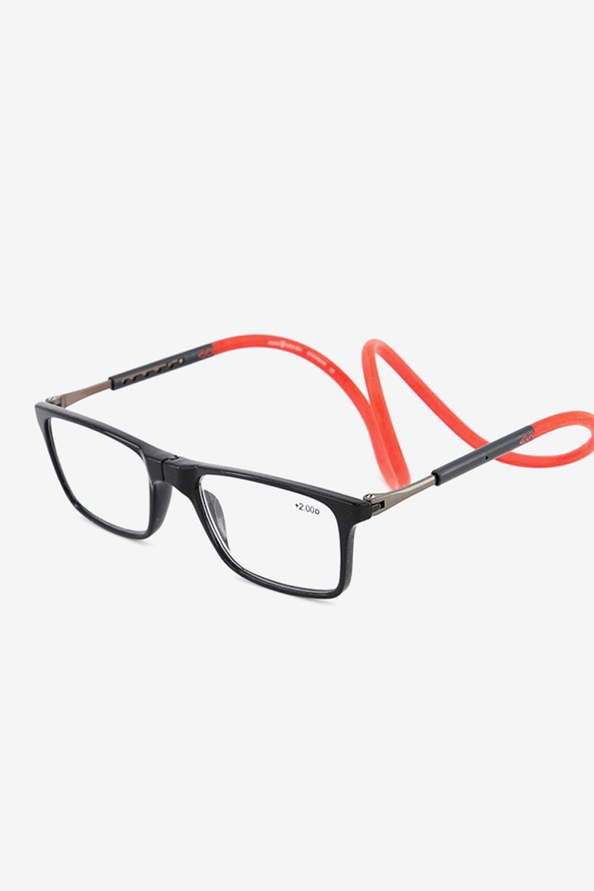 +2.50 D Unisex Reading Glasses, Black/Red
