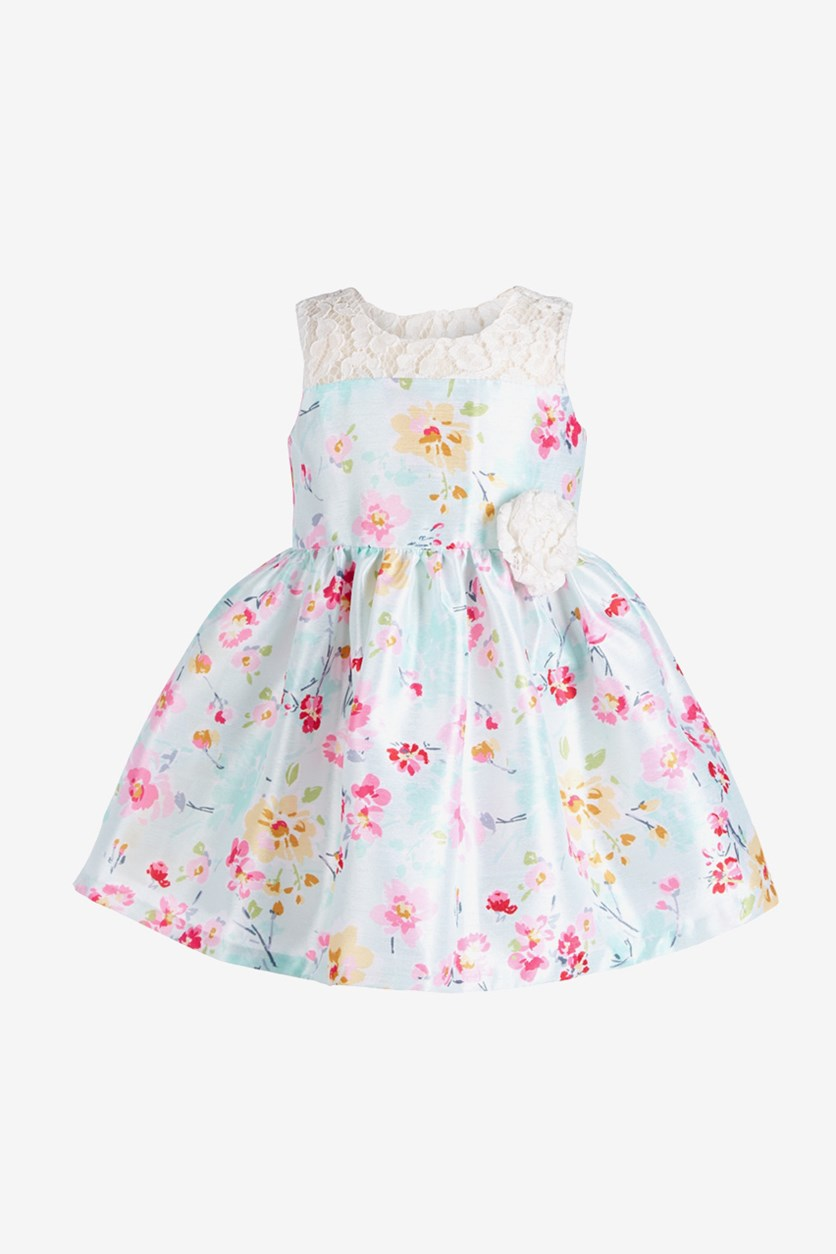 Baby Baby Girls Floral & Lace Dress, Light Green