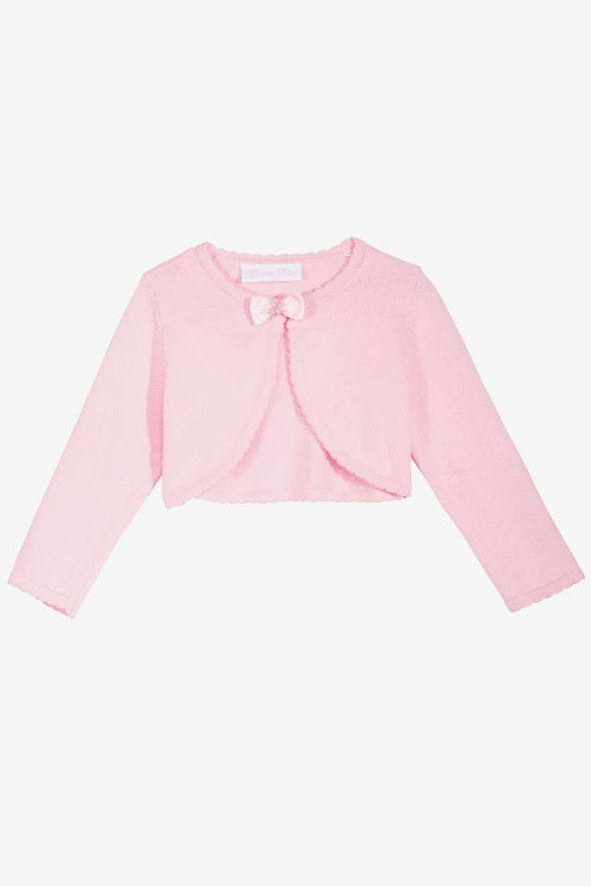 Baby Girls Bow Cotton Sweater, Pink
