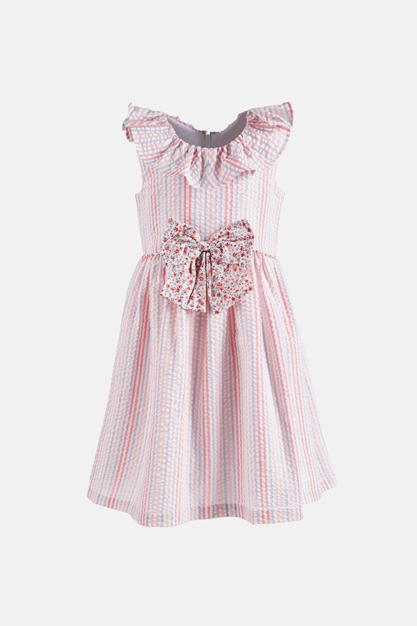 Toddler Girls Multi-Stripe Seersucker Dress, Pink