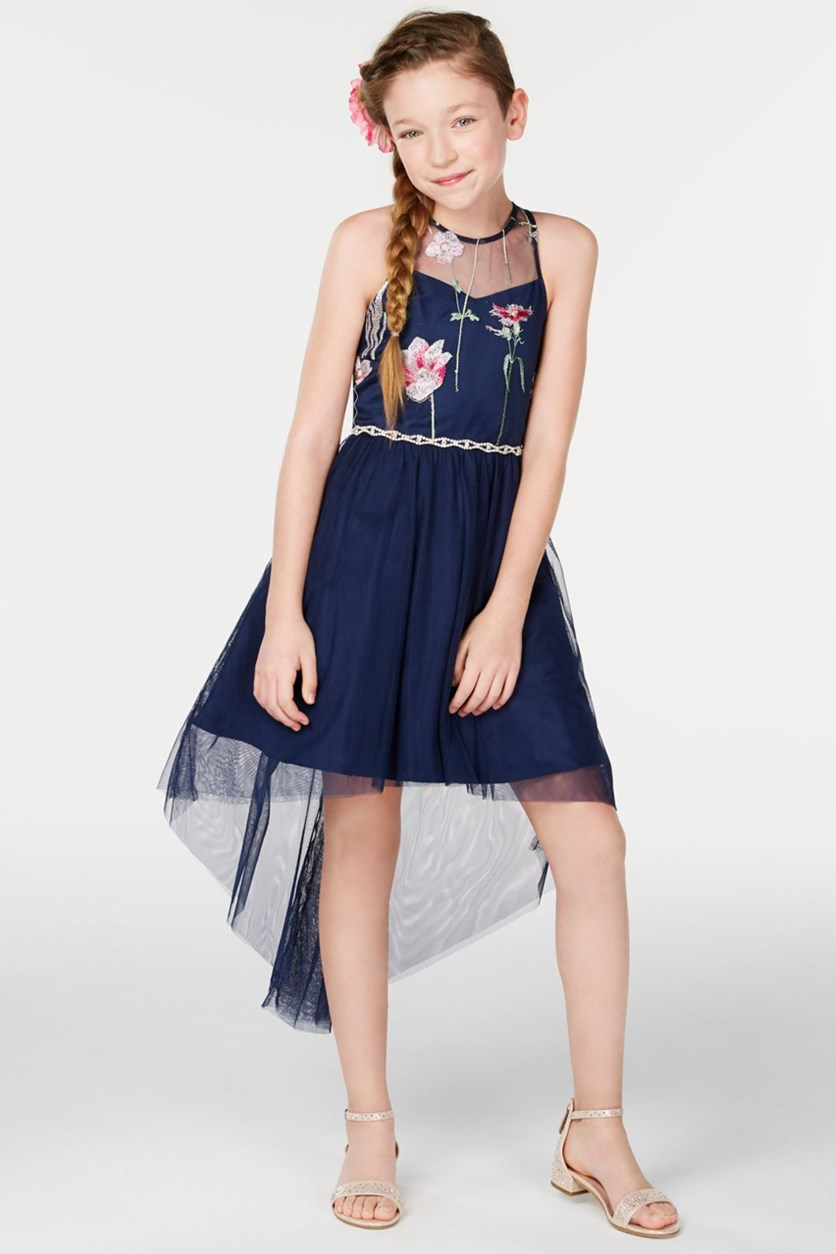 Big Girls Embroidered High-Low Hem Dress, Navy