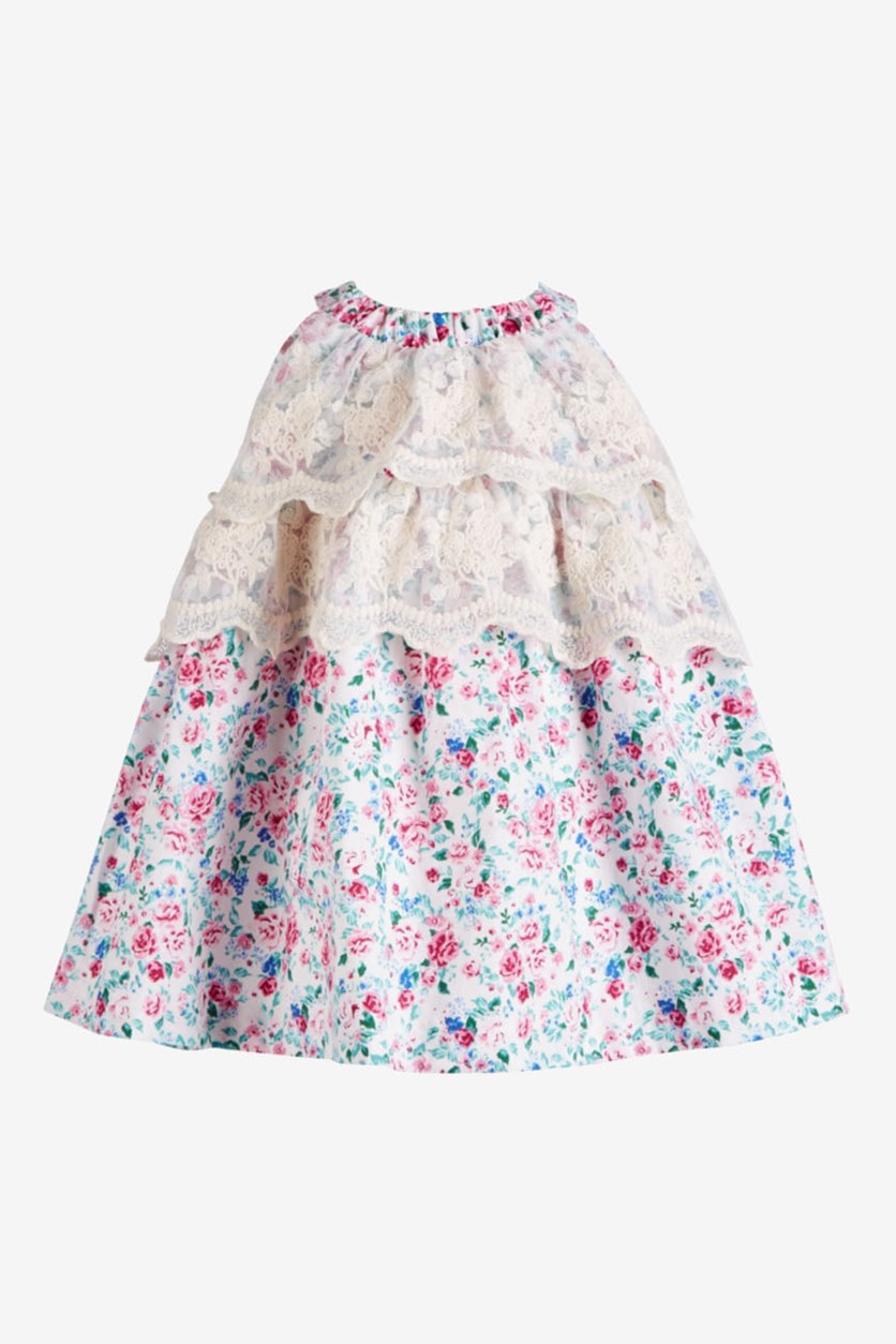 Baby Baby Girls Floral & Lace Dress, Ivory/Purple Combo