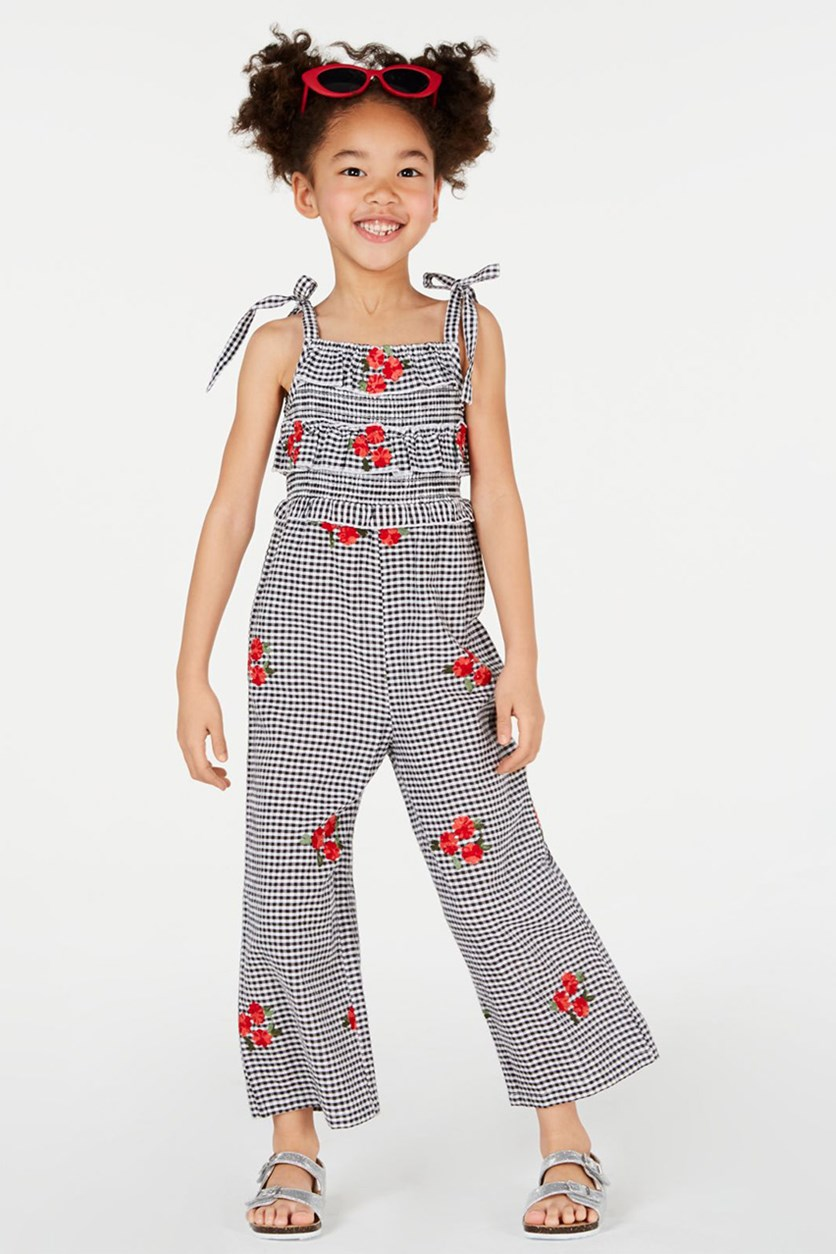 Toddlers Embroidered Gingham Jumpsuit, Grey/White